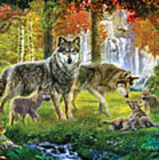 Summer Wolf Family Print by Jan Patrik Krasny