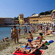 Sun Bathers In Sestri Levante In The Italian Riviera In Liguria Italy Art Print