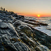Sun Breaks At Pemaquid Point Print by At Lands End Photography