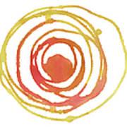 Sun Circle Abstract Water Color Paint Art Print