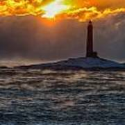 Sun Climbing Over Thacher Island Lighthouse Art Print