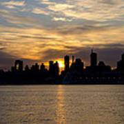 Sun Comes Up On New York City Art Print