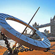 Sun Dial And Tower Bridge London Art Print