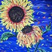 Sun Flowers And Wind Art Print