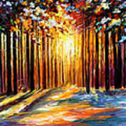 Sun Of January - Palette Knife Landscape Forest Oil Painting On Canvas By Leonid Afremov Art Print