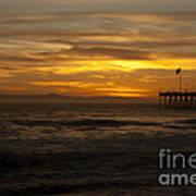 Sun Setting Behind Santa Cruz With Ventura Pier 01-10-2010 Art Print