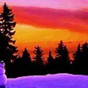 Sun Setting On Snow Art Print