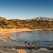 Sun Setting On The Beach At Arinella Plage In Corsica Art Print