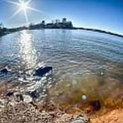 Sun Shining Over Lake Wylie In North Carolina Art Print