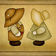 Sunbonnet Sue And Overall Sam Art Print by Brenda Bryant