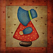 Sunbonnet Sue In Red And Blue Art Print by Brenda Bryant