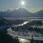 1m9313-sunburst Over Grand Teton, Wy Art Print