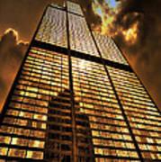 Sundown At Willis Sears Tower Art Print