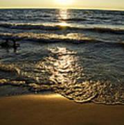Sundown On The Beach Art Print
