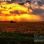 Sundown On The Working Farmer Art Print