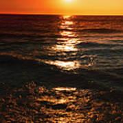 Sundown Reflections On Lake Michigan  01 Art Print