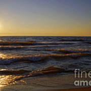 Sundown Scintillate On The Waves Art Print
