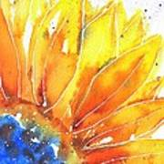 Sunflower Blue Orange And Yellow Art Print