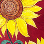 Sunflower On Red Art Print
