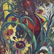 Sunflower Woman #1 Art Print