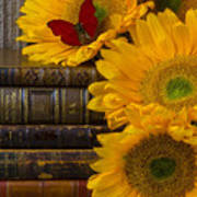 Sunflowers And Old Books Art Print