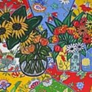 Sunflowers And Poppies Art Print