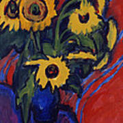 Sunflowers Print by Ernst Ludwig Kirchner