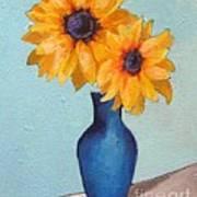 Sunflowers In A Blue Vase Art Print