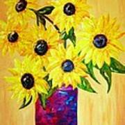 Sunflowers In A Red Pot Art Print