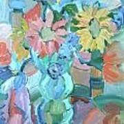 Sunflowers In Blue Vase Art Print by Brenda Ruark
