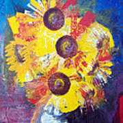 Sunflowers In Blue Vase Art Print