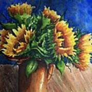 Sunflowers In Copper Art Print