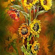 Sunflowers In Sunflower Vase Art Print by Carol Cavalaris