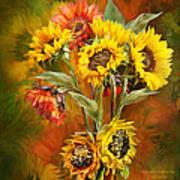 Sunflowers In Sunflower Vase - Square Print by Carol Cavalaris