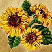 Sunflowers On Wooden Board Art Print