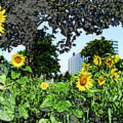Sunflowers Outside Ford Motor Company Headquarters In Dearborn Michigan Art Print by Design Turnpike
