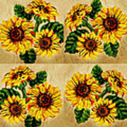 Sunflowers Pattern Country Field On Wooden Board Art Print