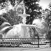 Sunlight Through Savannah Fountain With Vignette Art Print