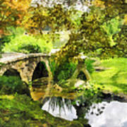 Sunlit Bridge In Park Art Print