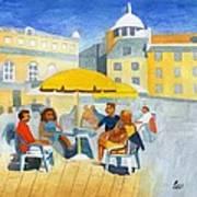 Sunlit Cafe Scene Art Print by Bav Patel