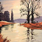 Sunlit River - Chess At Latimer Art Print