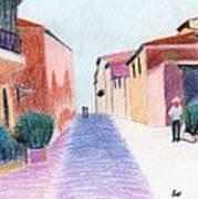 Sunlit Street Scene Art Print by Bav Patel