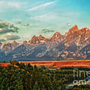 Sunrise At Grand Tetons Art Print