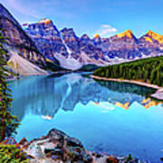 Sunrise At Moraine Lake Art Print