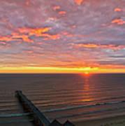 Sunrise At Saltburn Pier And Seafront Portrait Art Print