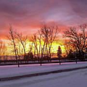 Sunrise At The Barn Art Print