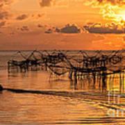 Sunrise At The Fishing Village Art Print