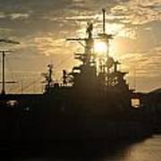 Sunrise At The Naval Base Silhouette Erie Basin Marina V1 Art Print