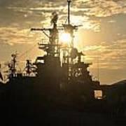Sunrise At The Naval Base Silhouette Erie Basin Marina V2 Art Print