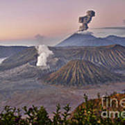 sunrise at vulcano Bromo with sea of sand vulcano Semeru with eruption Java Indonesia Art Print